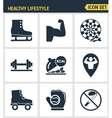 Icons set premium quality of healthy lifestyle vector image vector image