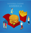 isometric usa national cuisine with fast food vector image vector image