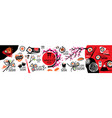 large set japanese food logos on a white vector image