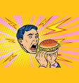 man eating burger vector image vector image