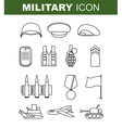Military line icon Set army symbol Soldiers helmet vector image