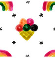 naive seamless pattern with rainbow and ice cream vector image vector image