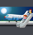 paassengers getting off plane vector image