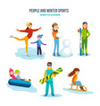 people winter sports entertainment recreation vector image vector image