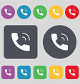 Phone icon sign A set of 12 colored buttons Flat vector image vector image