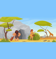 primitive couple people hunter caveman holding vector image vector image