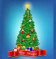 realistic christmas tree with decoration or luxury vector image vector image