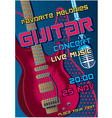 Rock concert design template with guitar micropho vector image