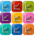 Rounded buttons with linear graphs vector image