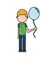 school young boy with balloon celebration teacher vector image