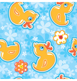 Seamless pattern with cartoon toy - yellow duck vector image