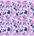 seamless pattern with flowers and butterflies of vector image