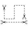 set black dotted line with scissors cut on white vector image vector image