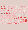 set heart stickers for valentine day vector image