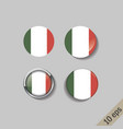 set italy flags round badges vector image