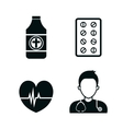 set medical care icons vector image