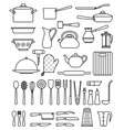 set silhouette kitchen utensils and collection vector image
