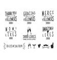 set vintage thanks badges social media vector image vector image