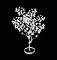 silver bodhi tree isolated on black background