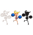 Sketches of a cheerdancer in different colours vector image vector image