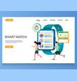 smart watch website landing page design vector image vector image
