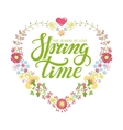 Spring time letteringFloral heart wreath vector image