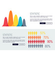 statistic charts with growing diagrams and people vector image vector image
