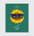 sunflower with sunglasses and slogan vector image