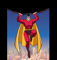 superhero holding boulder above city vector image vector image