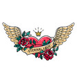 tattoo heart with wings ribbon roses and crown vector image vector image
