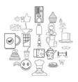 tea icons set outline style vector image vector image