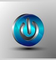 the 3d logo power button vector image