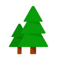 two forest fir-trees flat isolated vector image
