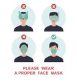 wear a proper face mask to avoid covid-19 vector image vector image