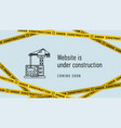 website in under construction banner flat web vector image vector image