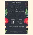 wedding floral background save the date colorful vector image