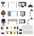 Workplace Interior Elements Set vector image vector image