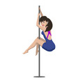 young woman is dancing on a pylon vector image vector image