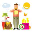 happy hipster man with hamburger flat vector image