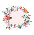 circle background with shabby vintage flowers vector image