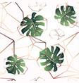 a leaf monstera and crystals seamless pattern vector image