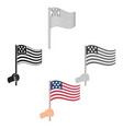 american flag icon in cartoonblack style isolated vector image vector image
