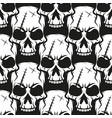 black skull pattern on white background vector image vector image