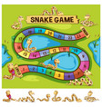 boardgame template with snakes crawling vector image vector image