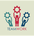 business people hold gears teamwork concept vector image vector image