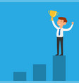 businessman holding successful trophy on bar graph vector image