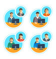 call center agents talk on the phone with customer vector image vector image