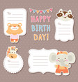 cartoon animals greeting cards tags and stickers vector image vector image