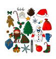 collection of christmas objects and characters vector image vector image
