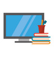 computer and books with pens in cup vector image vector image